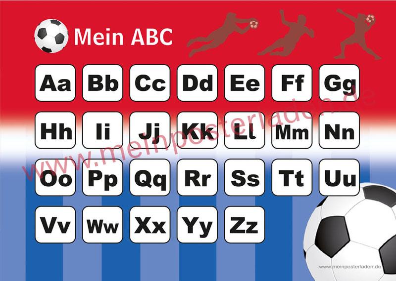 ABC Lernposter für die Grundschule Fußball, optional laminiert