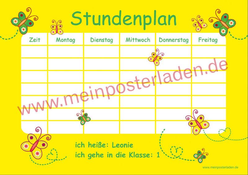 A4 Stundenplan in gelb mit niedlichen Schmetterlingen, personalisierbar und optional wiederbeschreibbar