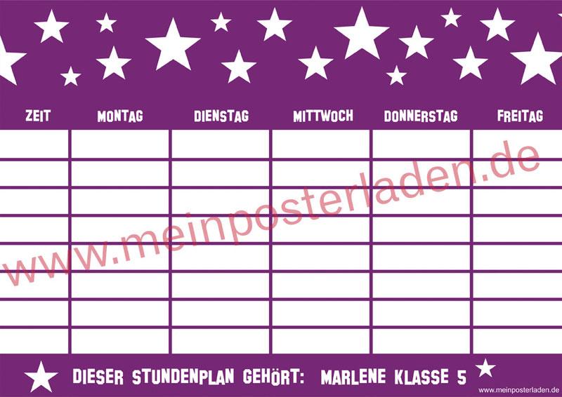 A4 Stundenplan lila mit Sterne - personalisierbar und optional wiederbeschreibbar