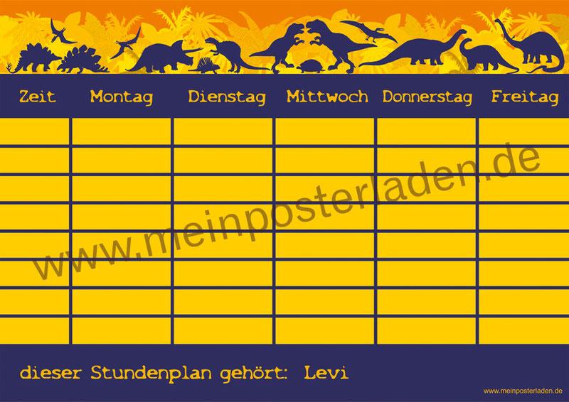 A4 Stundenplan Urwald Dinos mit T-Rex, Langhals und vielen anderen Dinos, personalisierbar und optional wiederbeschreibbar