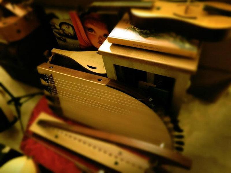 Algunos de los instrumentos usados en la grabación del disco.