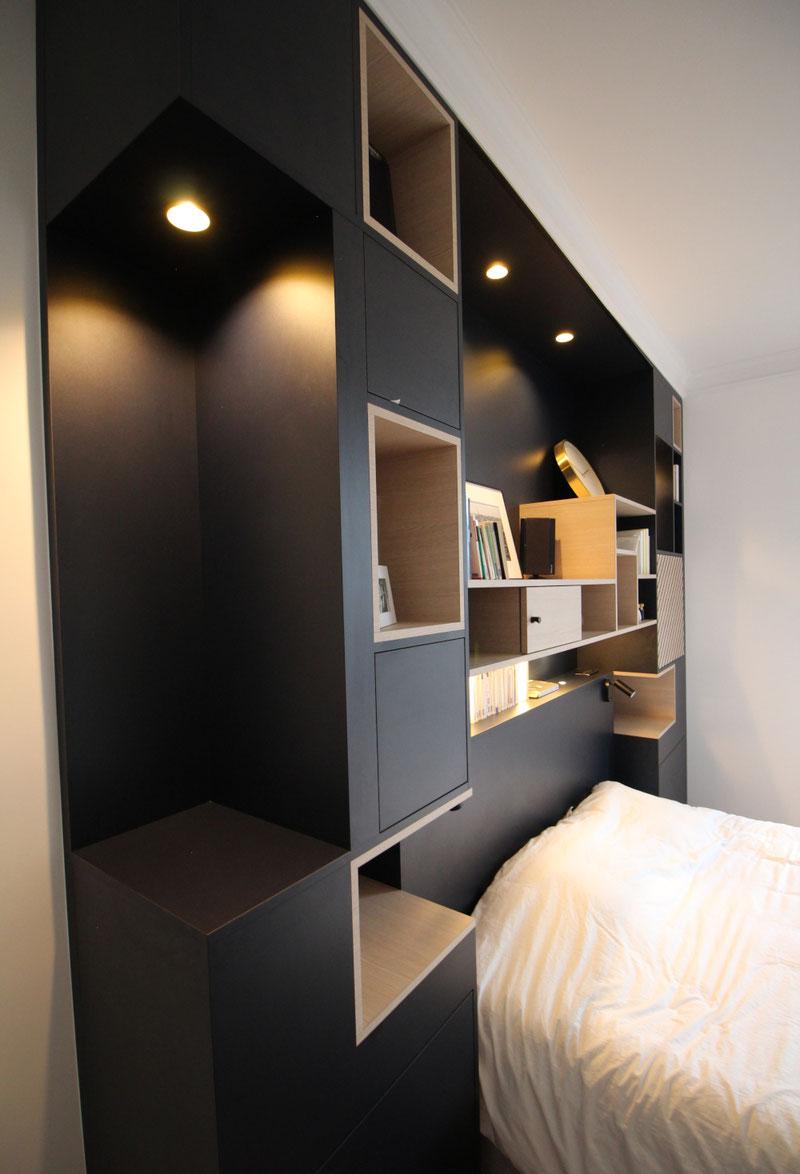 Meuble sur mesure, tête de lit sur mesure, menuiserie, niches ouvertes, niches fermées, tasseaux de bois, tête de lit contemporaine, reims