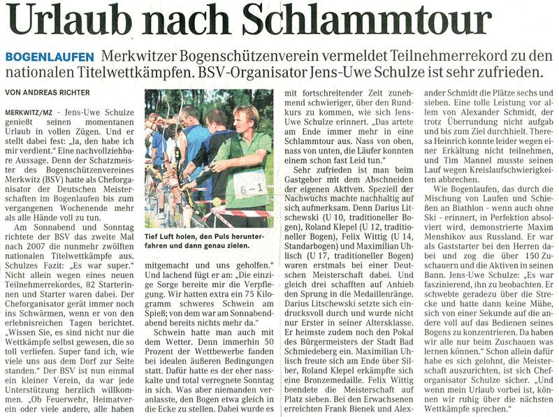 Artikel von der MZ - BSV Merkwitz