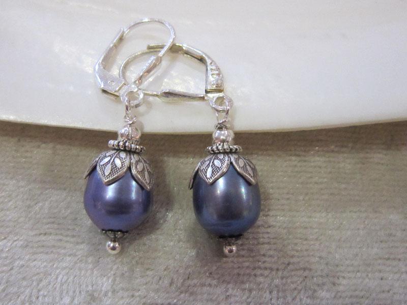 ✺ Ohrhänger mit blauen Süßwasserperlen - Brisur aus 925/- Silber  --- Preis 22,00 € ✺