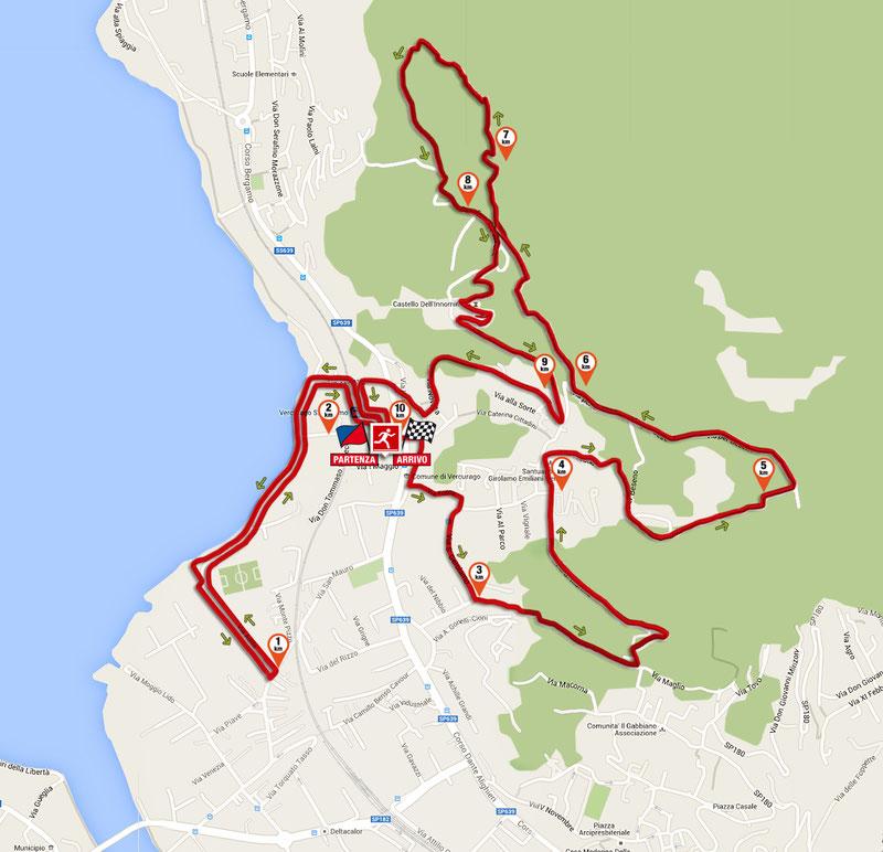 La mappa con il tracciato della corsa di 10 km con partenza e arrivo dall'Oratorio San Giovanni Bosco di Vercurago