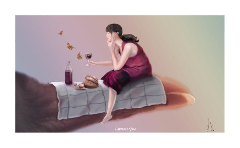 """""""Déjeuner sur le pouce. (Aérographe numérique sur ps4)"""