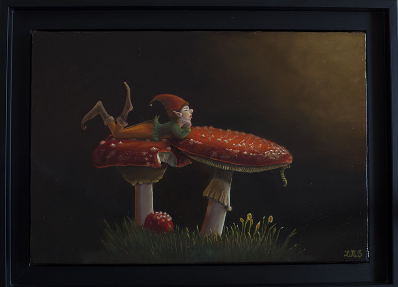 Le lutin . Huile sur toile de lin 24x35 (vendu) 2014