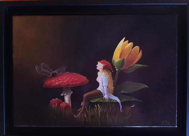 La Lutine . Encre sur toile de lin 24x35 (vendu)