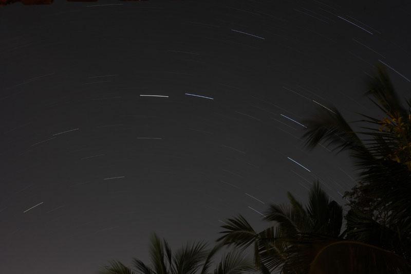 Très rares les nuits étoilées à Ubud, il y a souvent bcp de nuages..cette nuit était la bonne , j'avais une idée bien précise de photo; un palmier au centre de la voute et les étoiles tournant autour
