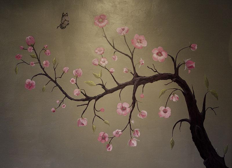 Le cerisier. Peinture murale (commande  170 x170 cm ) 2015