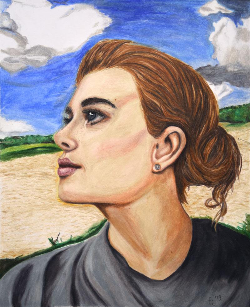 September 2019 Elina »Portrait« Buntstiftzeichnung 29,7 x 21 cm