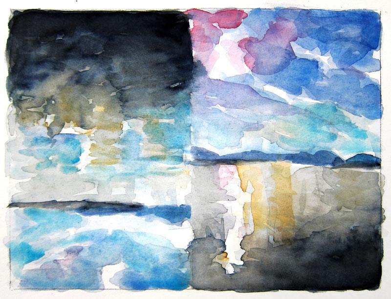 August 2019  Beate  »Zwei Landschaften«  Aquarell ca. 15 x 20 cm