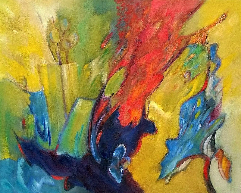 Abstract feeling 1  - Olieverf op doek 100 x 80 cm