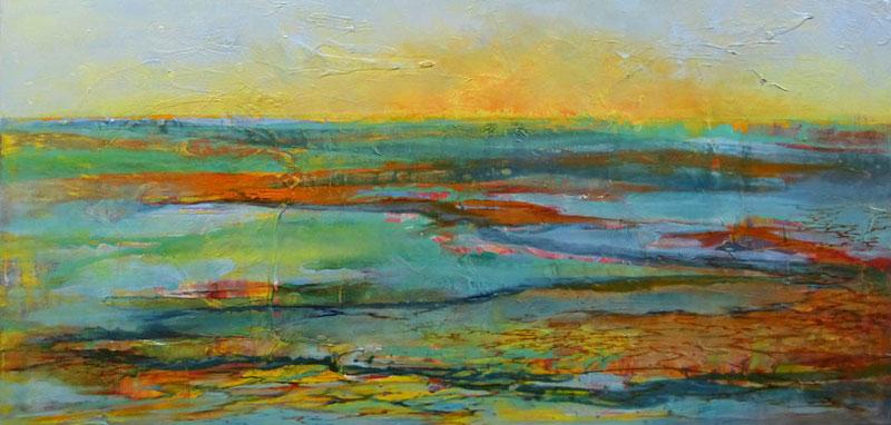 Morgen Land 2, 2013, mixed media on canvas, 50 x 100 cm