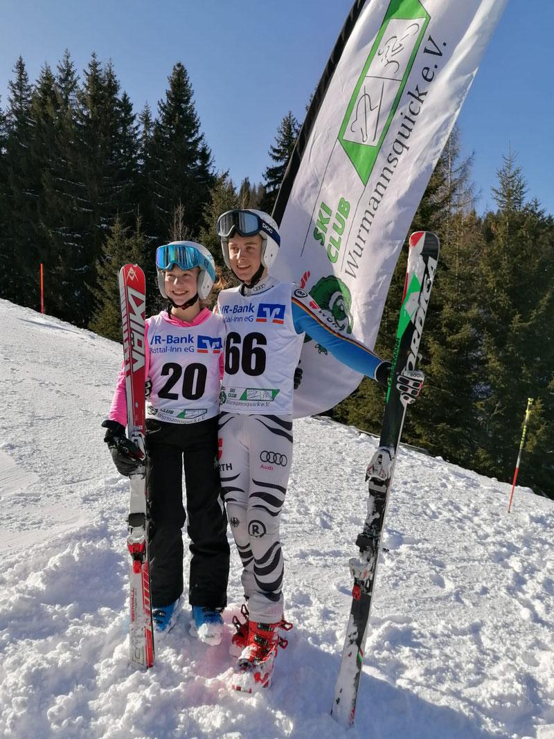 Magdalena Gruber, Vereinsmeisterin 2020 und Maximilian Schemmer, Vereinsmeister 2020