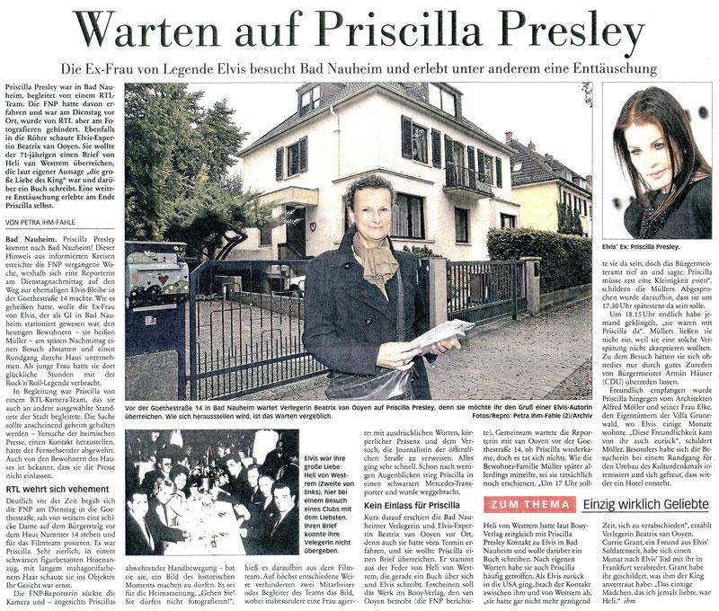 """Warten auf Priscilla Presley"", FNP 20.10.2016, Text: Petra Ihm-Fahle, Fotos: Petra Ihm-Fahle und Booy-Verlag"