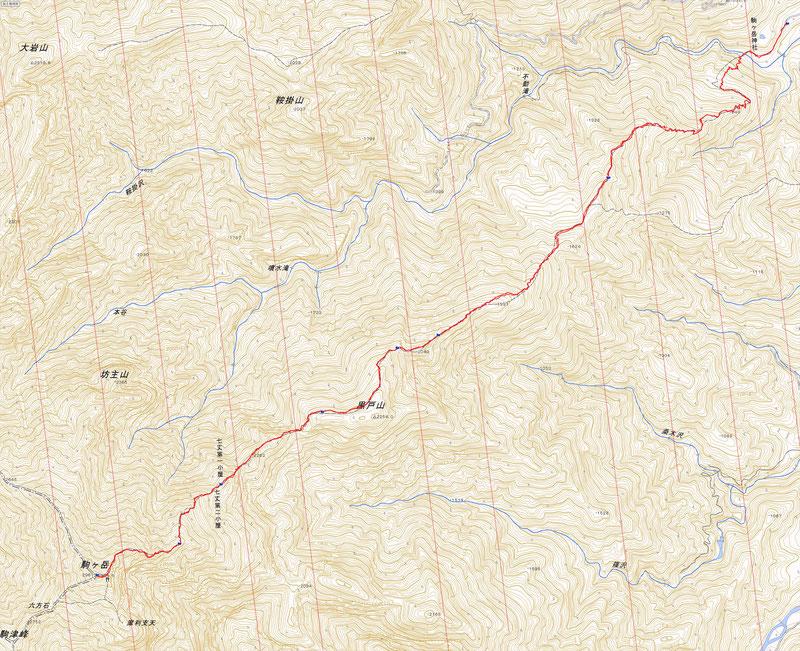 黒戸尾根コースマップ