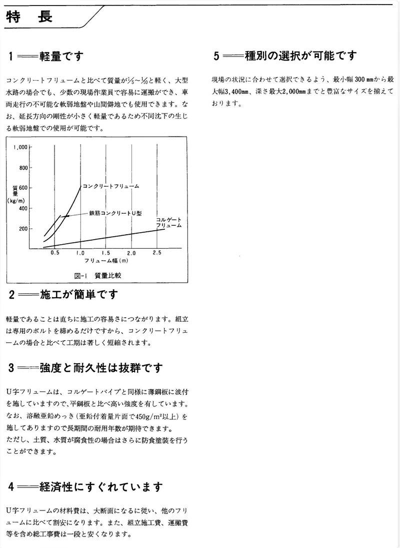 軽くて丈夫な、鋼鉄製の角型U字溝を紹介する写真入りの説明資料です。