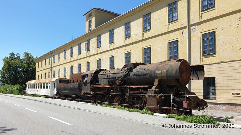Rest des Anschlussgleises der Harlander Zwirnfabrik und Baumwollspinnerei der Straßenbahn St. Pölten