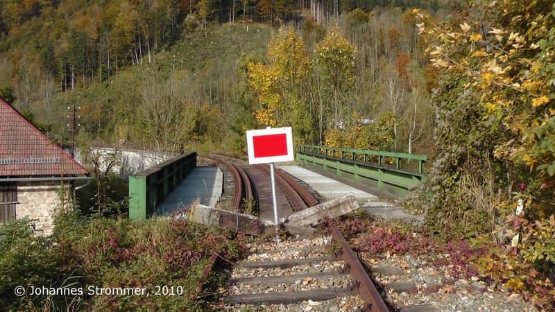 Ausfahrt aus dem Bahnhof Freiland, Blick Richtung Türnitz