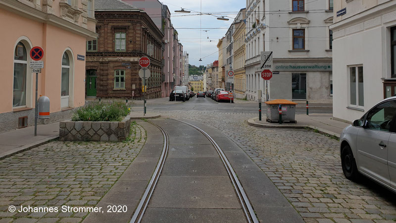 Gleisrest der Straßenbahn Wien in der Lacknergasse