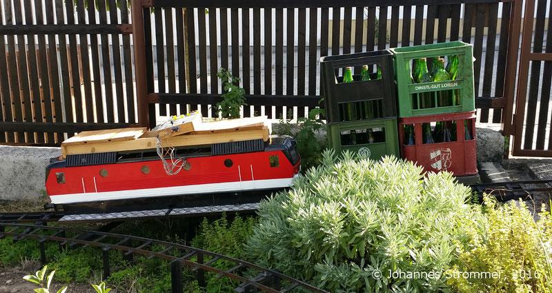 Lokomotive mit Wagen auf einer 10% Steigung meiner Gartenbahn 5 Zoll in Mörbisch/See.