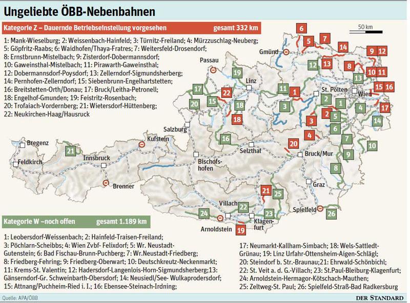 Einstellungsgefährdete Nebenbahnen, Stand ca. 2010; Quelle: Der Standard/APA/ÖBB