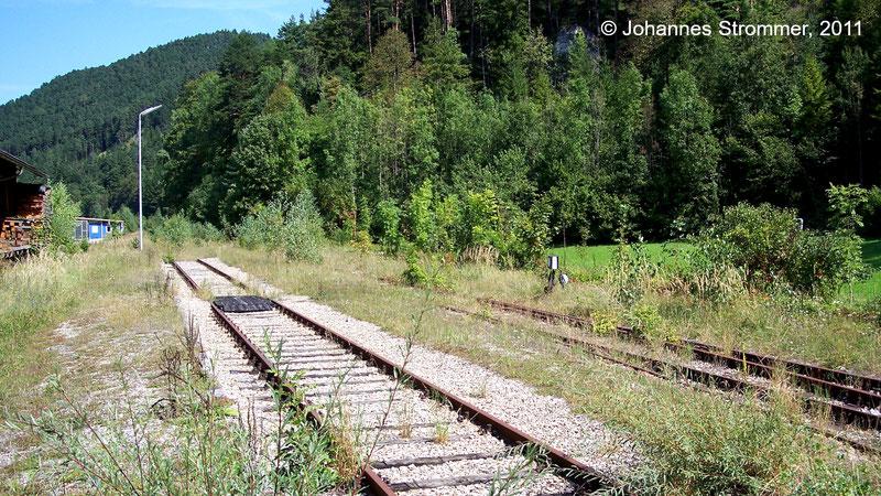 Gleis zum Lokschuppen im Bahnhof Türnitz der Strecke Freiland - Türnitz