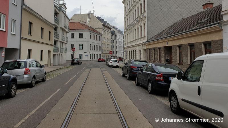 Gleisrest der Straßenbahn Wien in der Antonigasse