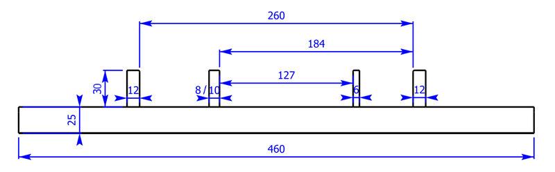 Vierschienengleis mit den Spurweiten 5 Zoll (127 mm), 7 1/4 Zoll (184 mm) und 10 1/4 Zoll (260 mm)