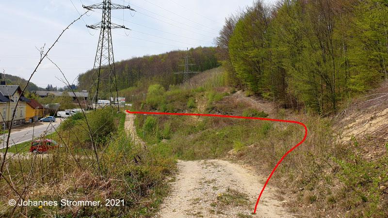 Dieses Bild zeigt dieselbe Stelle, nur von der anderen Seite aus betrachtet. Blick Richtung Bahnhof Rekawinkel.