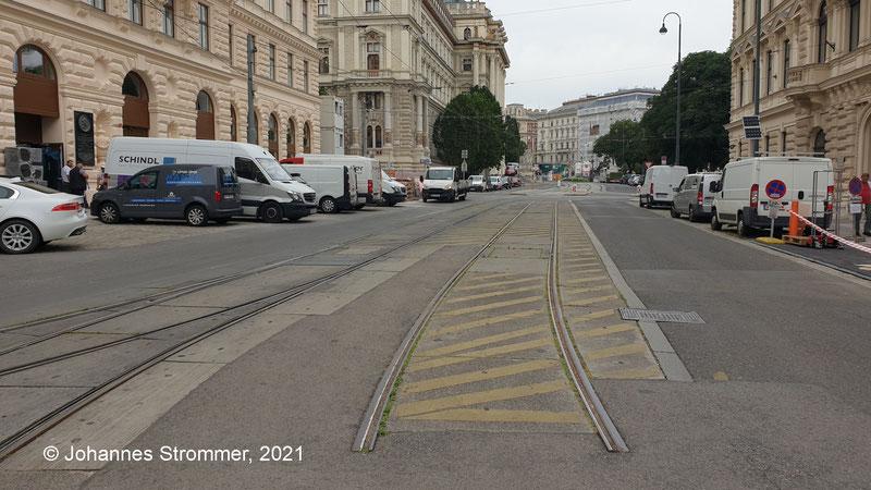 Rest des 2. Gleises in der Hansenstraße (Schleife Linie 46)
