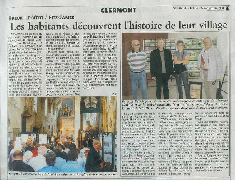 22 septembre 2010 - Exposition à l'église Saint Martin de Breuil le Vert.