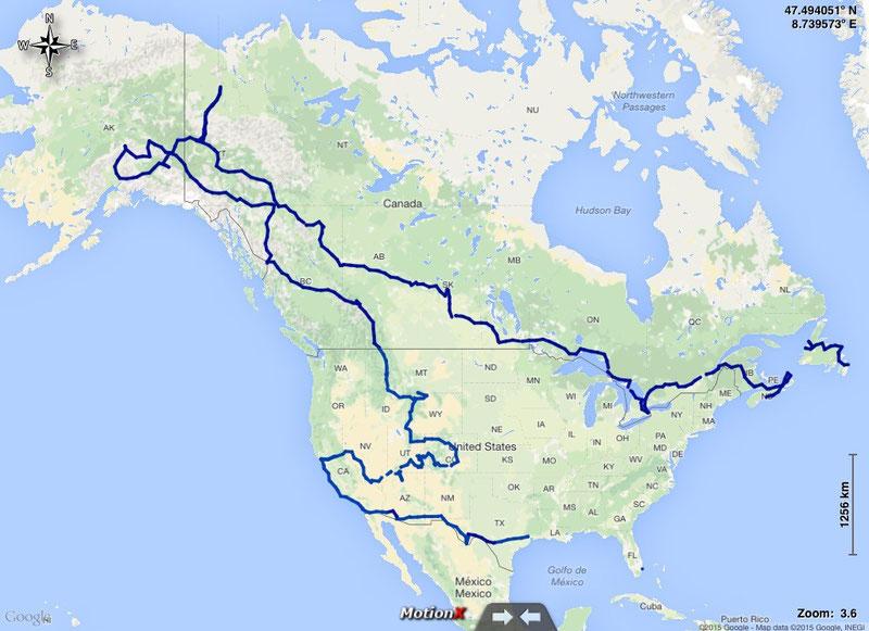 gefahrene Route durch Nordamerika