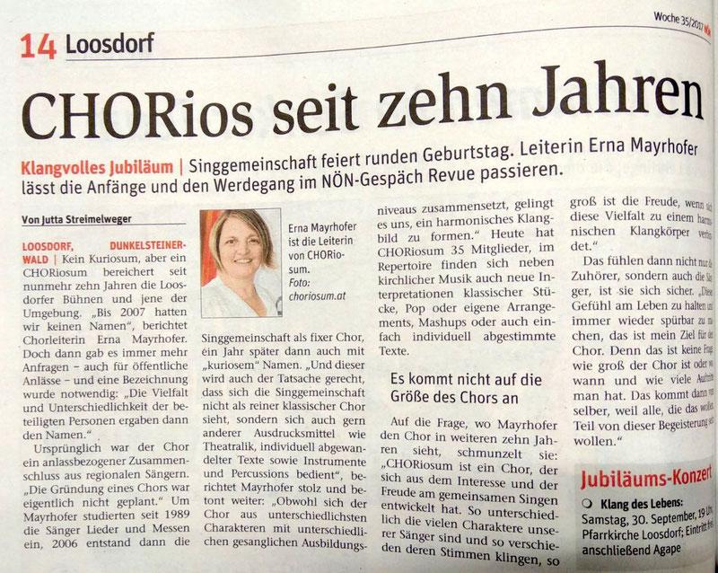 Bericht NÖN Melk KW35/17 von Jutta Streimelweger