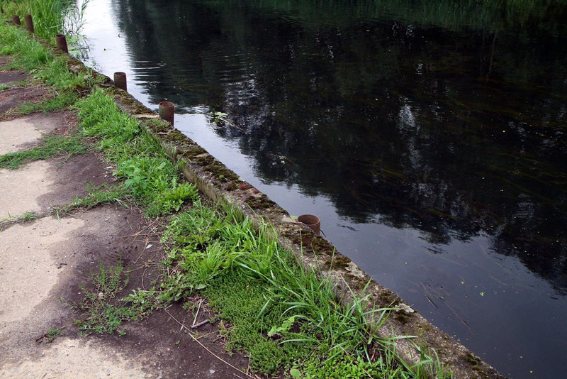 Am Ufer des Flusses Jeetze bei Salzwedel wurde ehemaliges Bohrgestänge zur Befestigung des Ufers in den Boden gerammt.