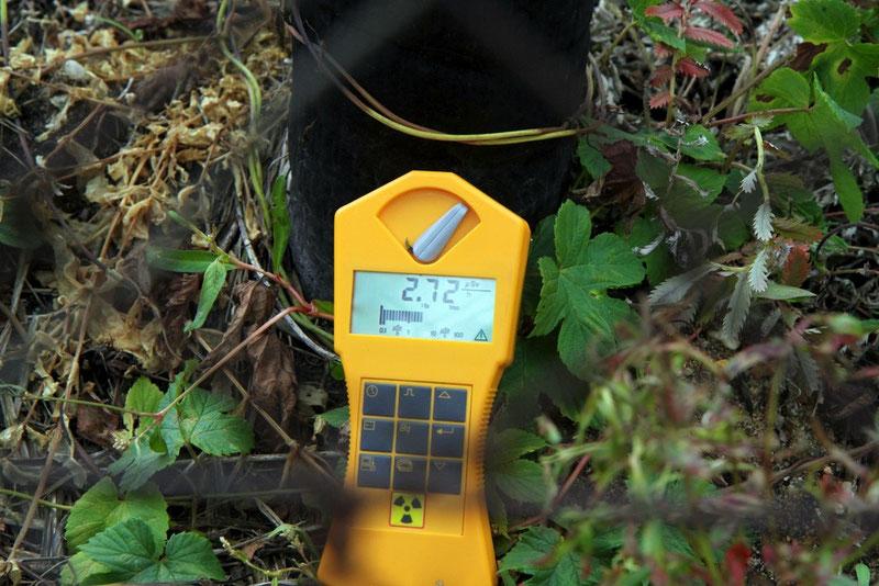 Direkt am Erdgasrohr, durch das das Rohgas hörbar rauscht, steigt die ODL auf 2,72 Mikrosievert pro Stunde (das 19fache der Hintergrundstrahlung).