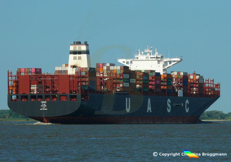 "Hapag-Lloyd Containerschiff ""LINAH"" am 22.08.2018 auf der Elbe"
