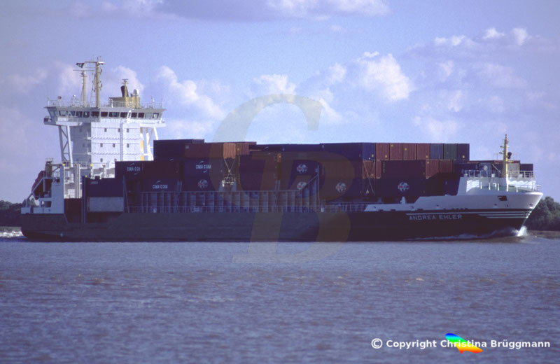 Feeder Containerschiff ANDREA EHLER, Elbe 2005