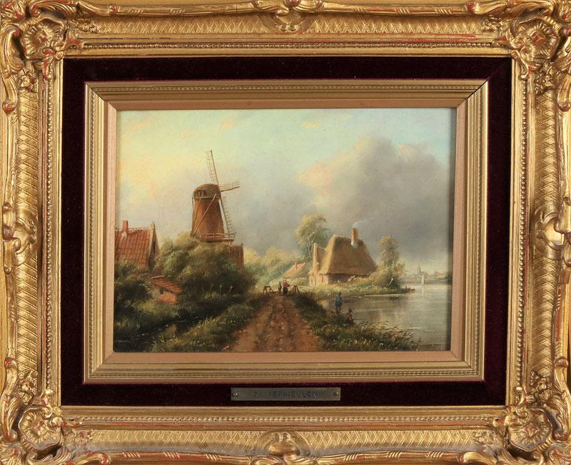 te_koop_aangeboden_een_zomergezicht_met_windmolen_en_figuren_van_de_nederlandse_kunstschilder_marinus_cornelis_thomas_vermeulen_1868-1941