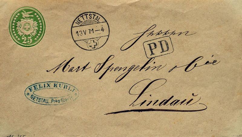 Brief mit Nettstal-Rundstempel vom 13.5.1871 nach Lindau D