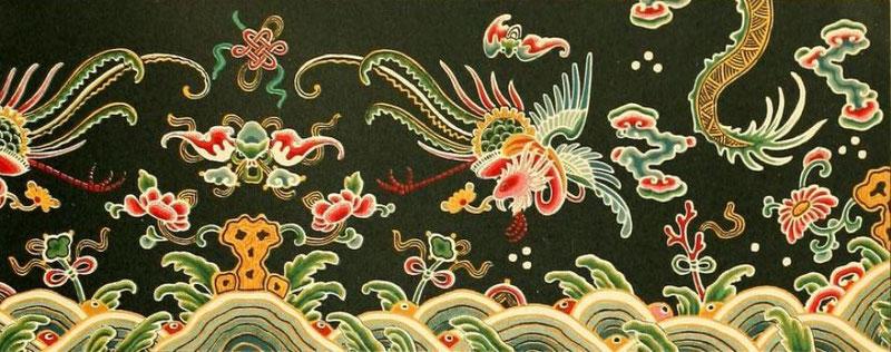 Fragment de robe. — Auguste RACINET (1825-1893) : Le costume historique. Chine.