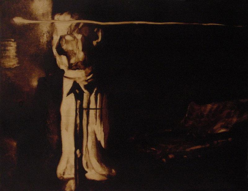 """""""I pensieri del figlio"""" (2009) olio su legno, cm (30,4 x 39,9)"""