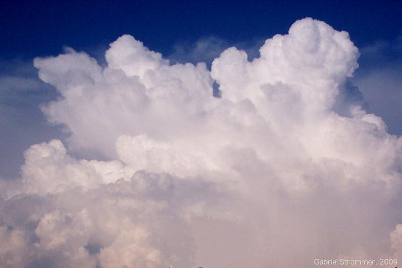 Entwicklung einer hochreichenden Haufenwolke (Cumulus congestus) zu einer Gewitterwolke (Cumulonimbus)