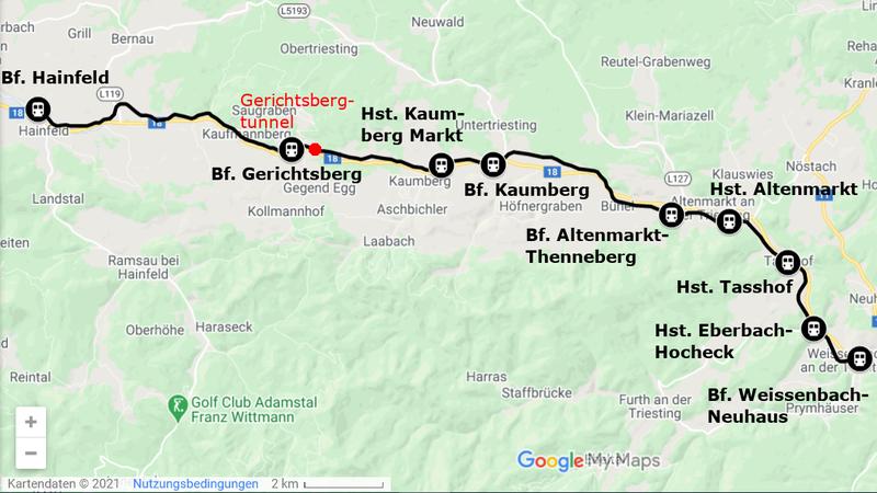 Übersichtskarte der ehemaligen Eisenbahnstrecke Weissenbach-Neuhaus - Hainfeld (Leobersdorfer Bahn)