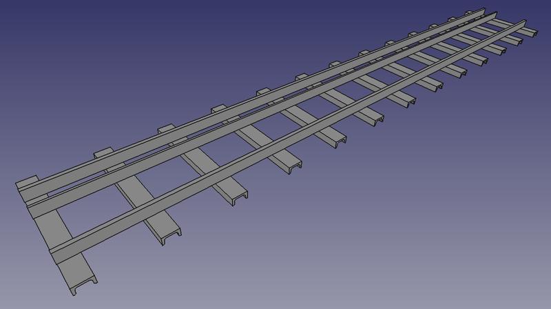 3D-Ansicht eines 2 Meter langen Dreischienengleises für die Spurweiten 5 Zoll & 7 ¼ Zoll mit 6 Schwellen pro Meter (FreeCAD Zeichnung)