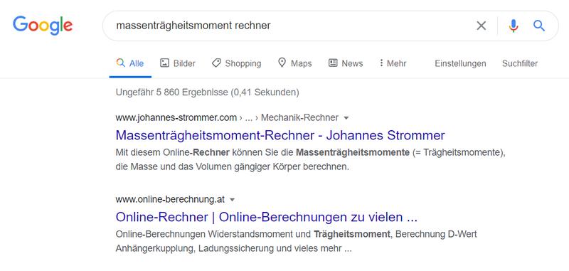 Ausschnitt der Suchergebnisse in der Google-Suche