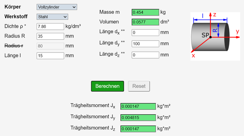 Screenshot des ausgefüllten Massenträgheitsmoment-Rechners für ein Loch (Teil 5)