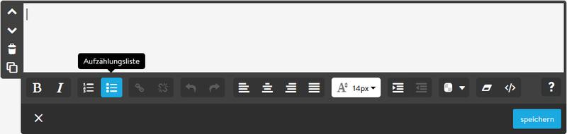 Textfeld-Editor des Homepagebaukastens von Jimdo