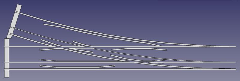 Draufsicht auf eine Dreischienenweiche für die Spurweiten 5 Zoll & 7 ¼ Zoll (FreeCAD Zeichnung)